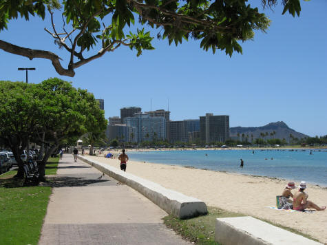 Ala Moana Beach Park near Waikiki and Honolulu City Center