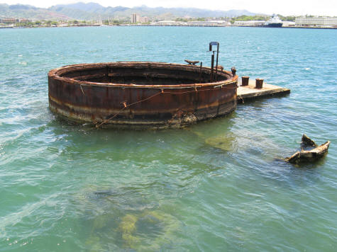 Remains of the USS Arizona in Pearl Harbor